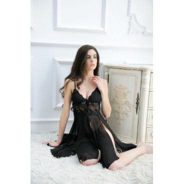 Sexy Black Open Chemise