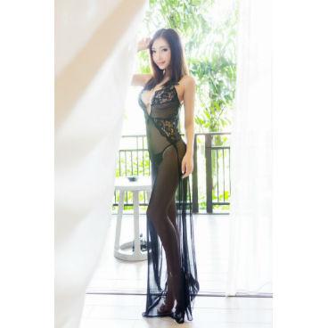 Black Mesh Long Skirt