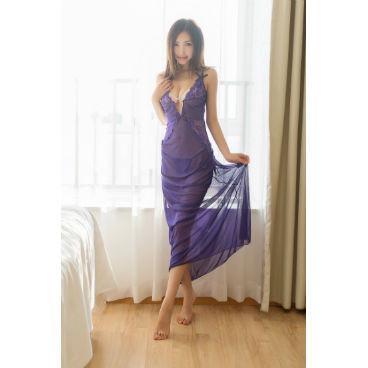 Purple Mesh Long Skirt