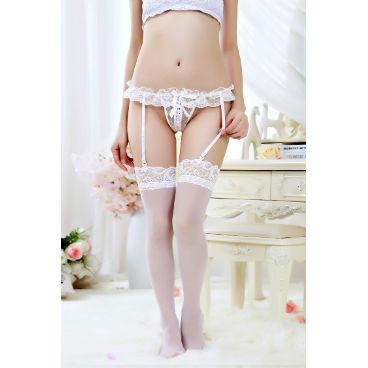 White Garter Waist Stockings