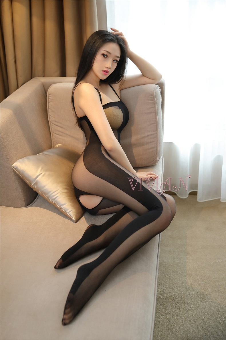 Black Line Halter Bodystocking