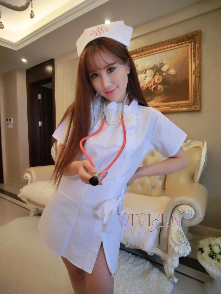 White Little Hong Kong Cutie Nurse Costume