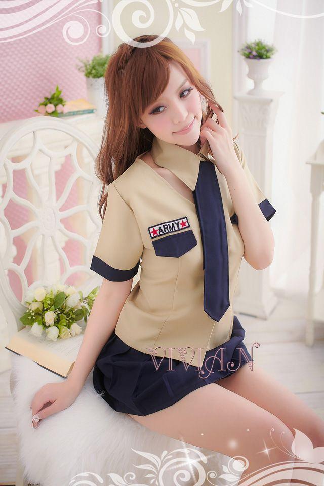 Khaki Student Sexy School Girl Costume
