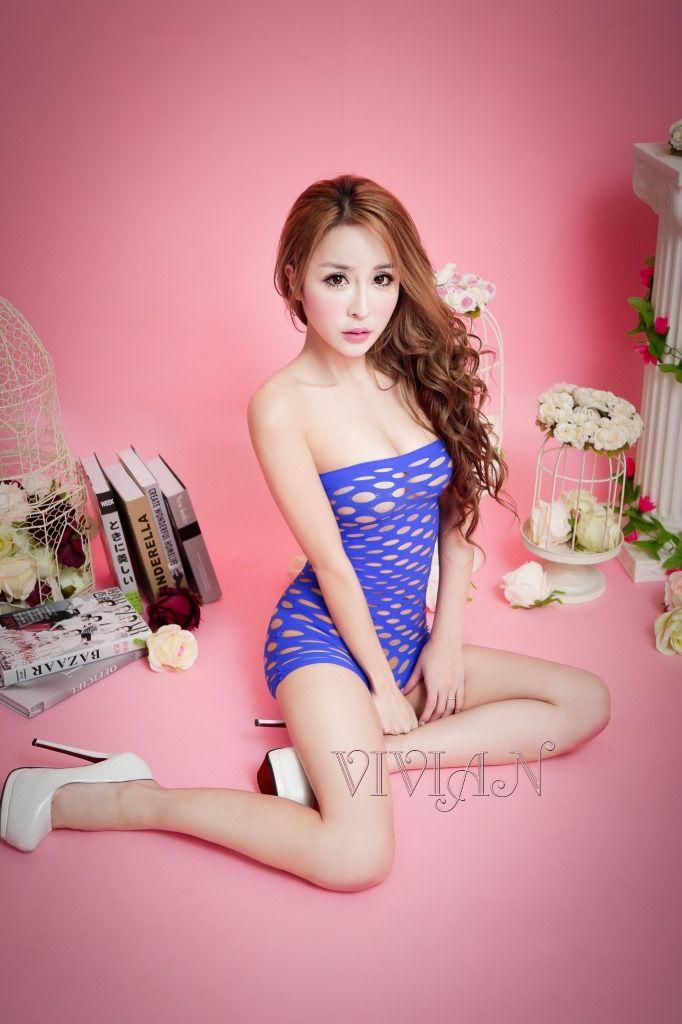 Blue Open Net Mini Dress