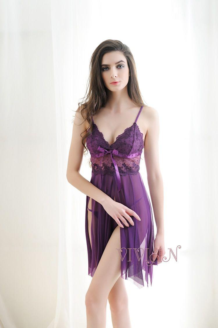 Sexy Purple Open Chemise