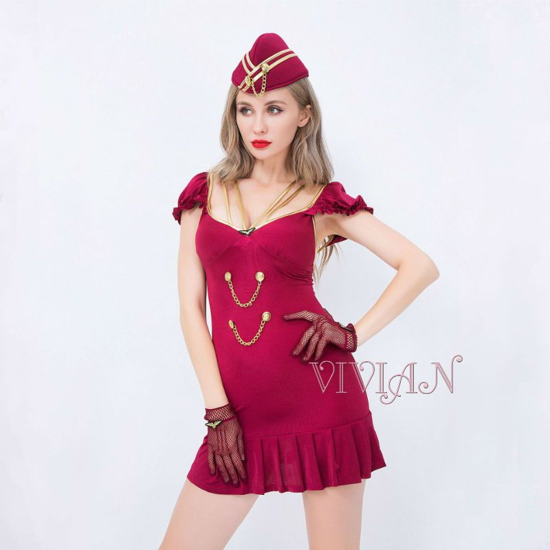 Red Airline Stewardess Costume